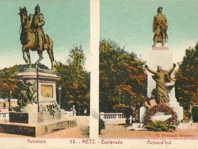 Metz. Esplanade. Autrefois - Aujourd'hui. Carte postale après 1922. Le monument de Hannaux est clairement indiqué par la mention : Emmanuel Hannaux Sculpteur.